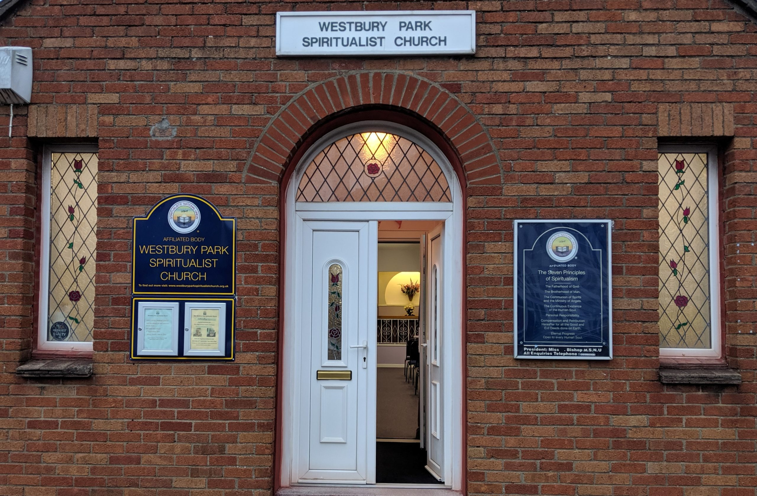 Westbury park Spiritualist Church - doorway